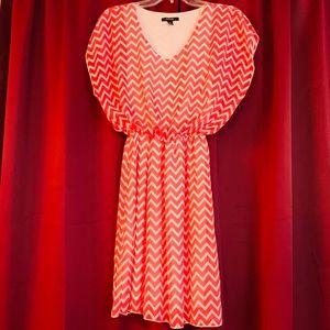 Adorable Coral Chevron Dress Size XL